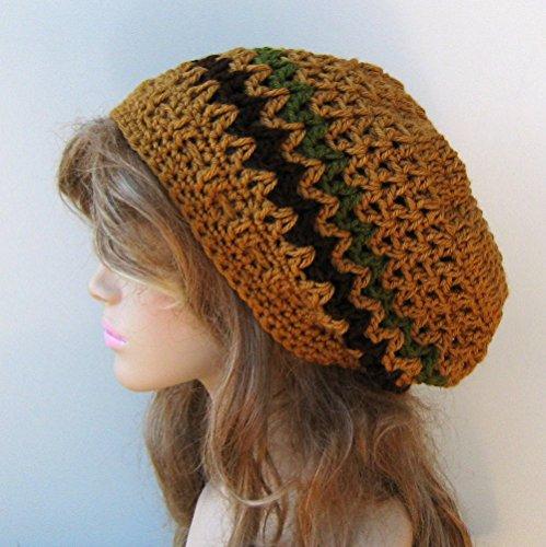 Handmade honey slouchy beanie, smaller Hippie Dread Tam Hat, green crochet beanie, woman man slouch hat, slouchy beanie