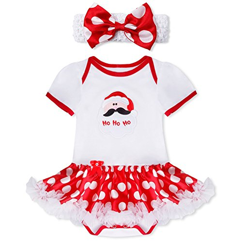 YiZYiF My First Christmas Costume Baby Girls' Polka Dots 2 Pieces Tutu Romper with Headband White Santa Claus 9-12 Months