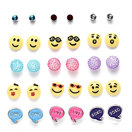 Onnea Multi Pairs Disc Ball Earrings Set for Girls, Hypoallergenic (15Pairs (Emoji))