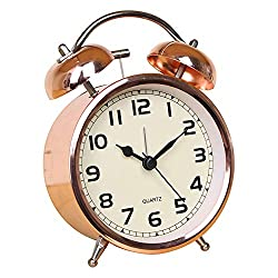 Time Vanguard Retro Double Bell Alarm Clock Bedside Silent Non-Ticking (Rose Gold)