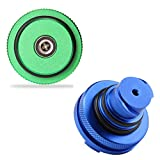 Billet Aluminum Green Fuel Cap Magnetic and Blue DEF Cap for Dodge Ram Cummins (2013-2017) Auto Parts