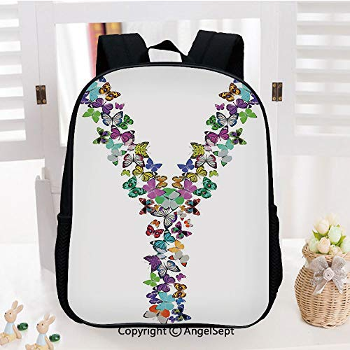 Kids Backpack Children Bookbag Vibrant Colored Butterflies Nature Elements Font Design Warm Climate Creatures Preschool Kindergarten Elementary School Travel Bag for Girls - Mens Grid Climate