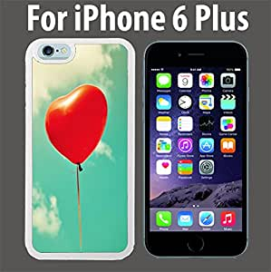 Free Red Heart Shape Balloon Custom Case/ Cover/Skin *NEW* Case for Apple iPhone 6 PLUS - White - Rubber Case (Ships from CA) Custom Protective Case , Design Case-ATT Verizon T-mobile Sprint ,Friendly Packaging - Slim Case