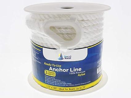 Nylon 3 Strand Anchor//Rigging Line 5//8 x 150 White
