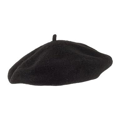 Village Hats Kids Wool Beret - Black Kids - 1-Size  Amazon.co.uk ... 5be77215be3