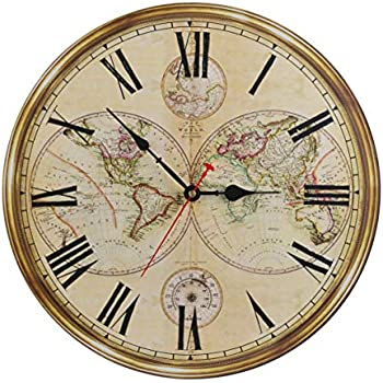 16-Inch Silent Non-Ticking Battery Operated Large Decorative Wall Clock with Classic Retro World Map Roman Numerals for Kitchen Living Room Bathroom Bedroom ...