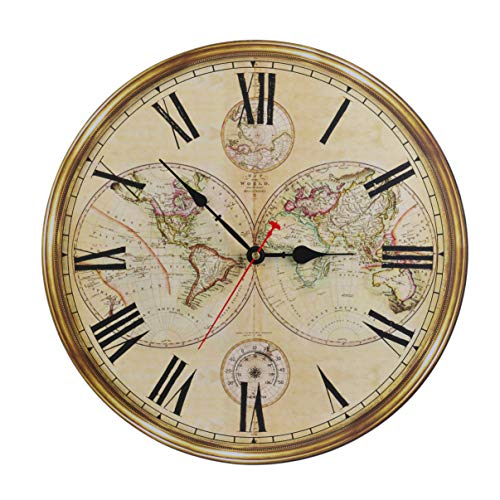 16-Inch Silent Non-Ticking Battery Operated Large Decorative Wall Clock with Classic Retro World Map Roman Numerals for Kitchen Living Room Bathroom Bedroom Wall Home Decor (World Clock Old Map)