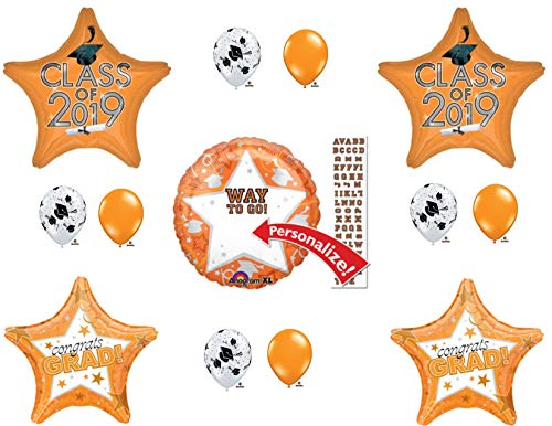 PERSONALIZE! CLASS OF 2019 Orange Graduation Party Balloons Decoration Supplies -