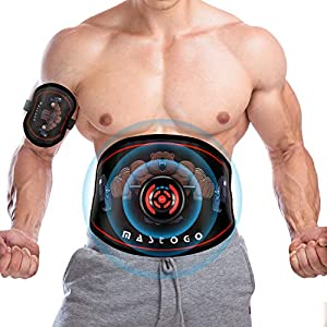 MASTOGO Electronic Abs Toning Training Belt – 9 Modes Pulse Abdominal Stomach Machine EMS Waist Trimmer Equipment Ab…