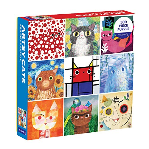 Mudpuppy Artsy Cats 500 Piece Family Jigsaw Puzzle, Cute Puzzle with Cats in Classic Art Formats