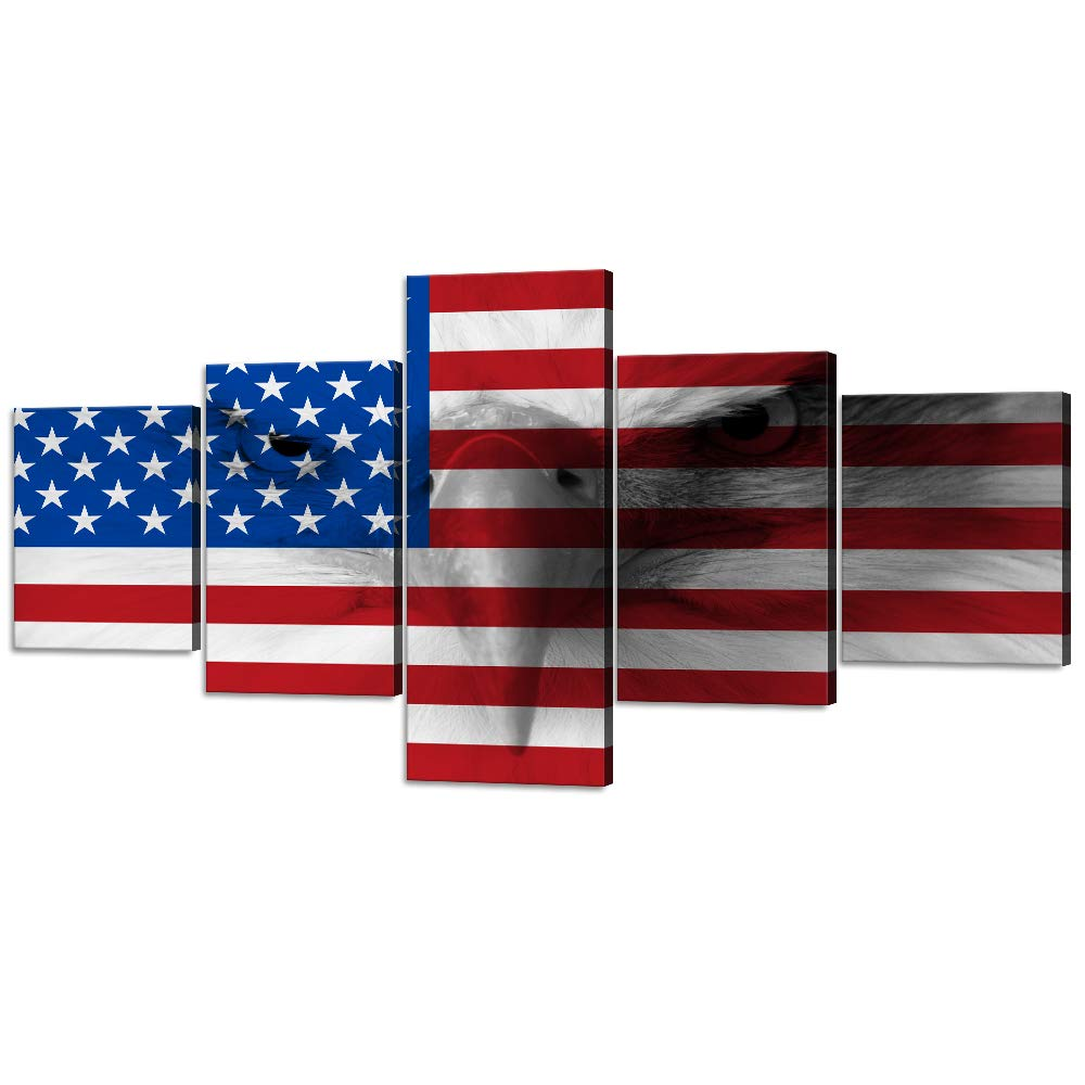 USA American Flag Wall Art Pictures Modern Eagle Canvas Painting 5 Panels US Military Posters and Prints Artwork Home Decor for Living Room Office Giclee Gallery-Wrap Framed Stretched (50''Wx24''H)