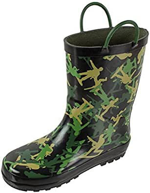Rainbow Daze Army Soldier Camo Printed Waterproof Rain Boots with Easy-on Handles for Kids, 100% Rubber, Ages 2 to 9 (2/3, Black Camo)