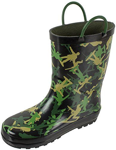 - Rainbow Daze Kids Rain Boots Army Soldier Print, Waterproof with Easy-on Handles 100% Rubber, Camo Print, Little Kid Size 11/12
