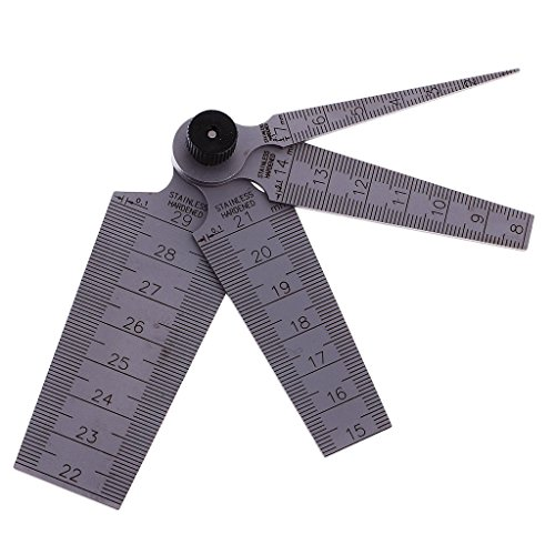 ZXHAO 1mm to 29 mm Test Ulnar Inch&Metric Measuring Metric Stainless Steel Taper Gauge Feeler Gap (Gauge Stainless Steel 1 Hole)