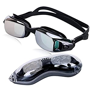 AcTopp Anti Fog Swim Goggles, Use Anti Glare, Anti Shatter, Mirror Coated & UV Proof Lenses Watertight Swimming Goggles, Easily Adjustable Straps Soft Silicone Nose Piece
