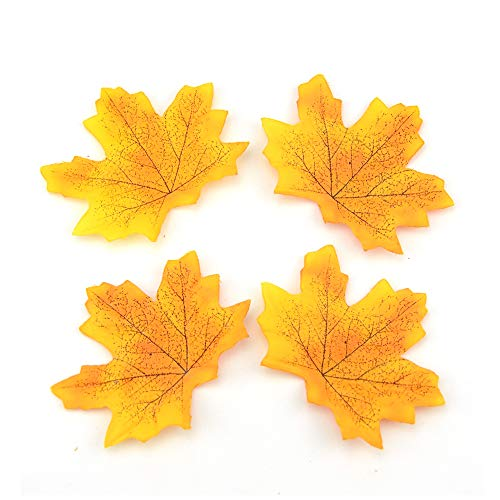 R STAR 100 Pcs Assorted Artificial Maple Leaves Monochrome Artificial Fall Leaf for Thanksgiving Table Door Fall Wedding Party Birthday Baby Shower Decorations(Yellow) -