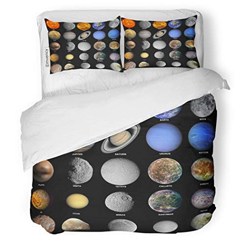 SanChic Duvet Cover Set All of The Planets That Make Up Solar Decorative Bedding Set with 2 Pillow Shams Full/Queen Size by SanChic