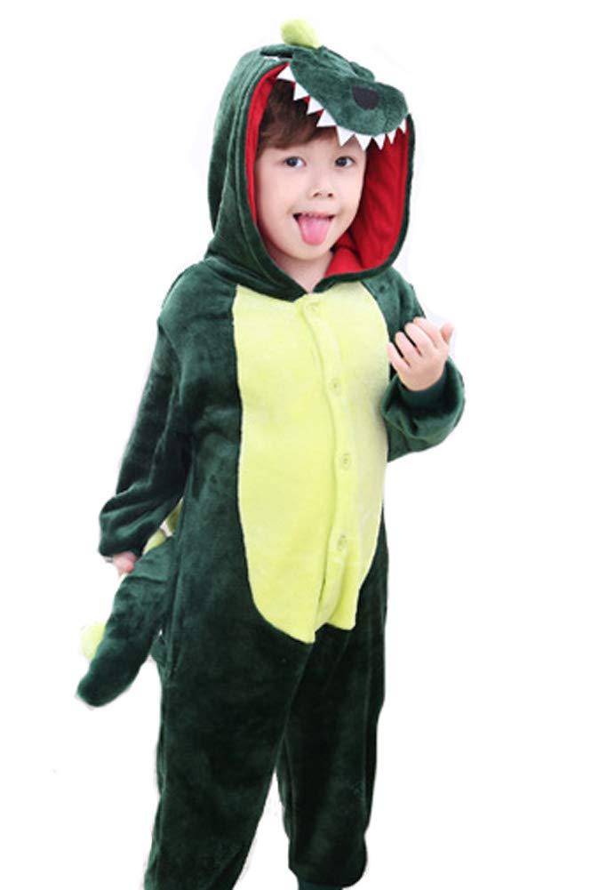 Tonwhar Kids Stitch Kigurumi Pajamas Children's Unisex Cosplay Costume Onesie (100(Height:37''-40''), Dinosaur)