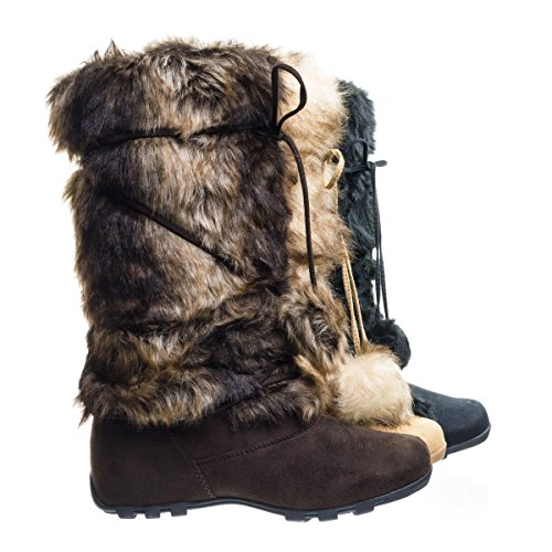 Blossom Tara Brown Suede Mukluk Wrap Around Mid Calf Faux Fur Boots, Women Winter Snow Boot -7.5