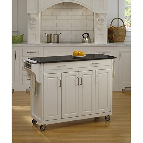 Home Styles 9200-1024 Create-a-Cart 9200 Series Cabinet Kitchen Cart with Black Granite Top, White - Marble Kitchen Island