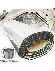 LSB de espuma de la hoja de goma, 1pc 200cmx50cm 5mm / 7mm / 10mm / 15mm / 20mm / 25mm / 30mm Matar una lámina de aluminio coche de la estera de sonido Aislamiento térmico de algodón de la capilla del