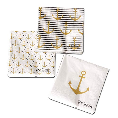 Beach Chic Anchors Away Napkins, 3 Packs of 20, 2 Ply Paper, 6 3/4 Inches, 3 Vibrant Patterns 1-Big Anchors and Stripes, 2 - Big Anchor, 3- Baby Anchors and Dots, Nautical Gold, Black and White