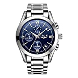Watches Men Chronograph Men Sports Watches Waterproof Full Steel Silver Blue Quartz Men's Watch