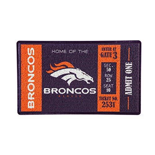 Team Sports America Denver Broncos Recyclable PVC Vinyl Indoor/Outdoor Weather-Resistant Team Logo Door Turf Mat ()