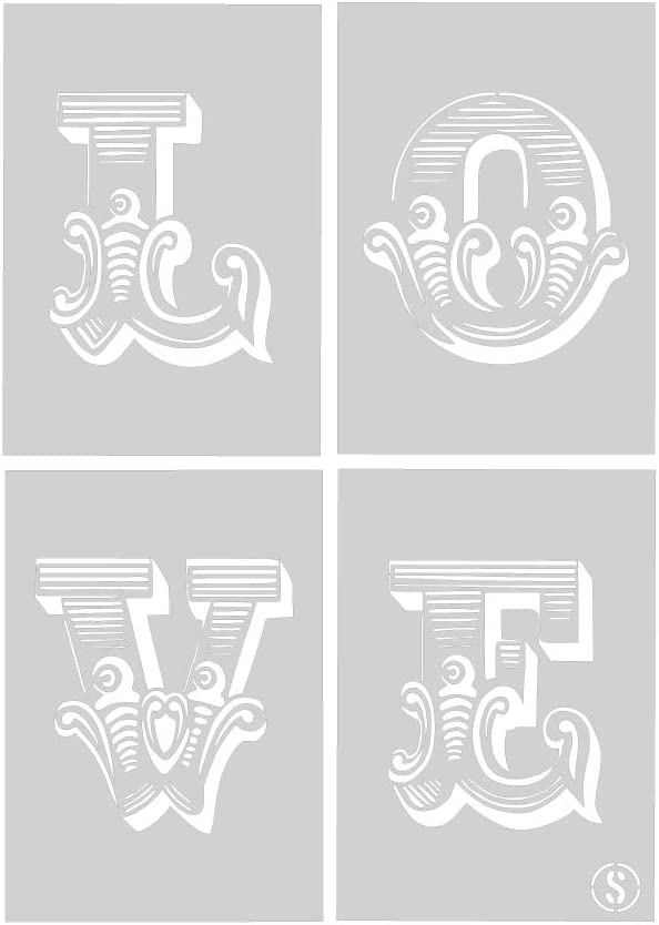 The Stencil Studio 10042S Each letter Size Small LOVE Circus Letters Stencil 4 x Reusable Stencils A4