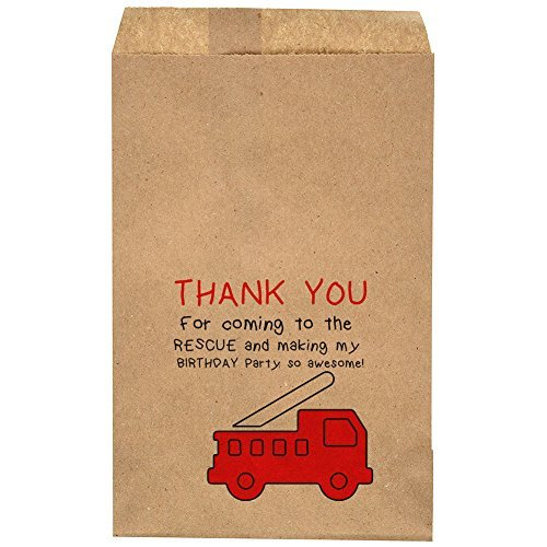 "Thank You For Coming To The Rescue And Making My Birthday Party So Awesome - Firetruck Birthday Party Favor Bag - Candy Bar – Treat Table – Candy Buffet - 6.25"" x 9.25"" Brown Kraft Bags – (20 pack)"