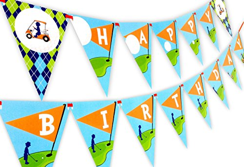 Golf Party Happy Birthday Banner Pennant