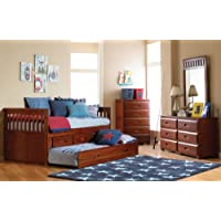 Twin Rake Bed with 3 Drawers and Trundle, Desk, Hutch, Chair and Entertainment Dresser in Merlot Finish