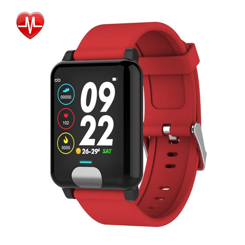 Rouge Xwly-Ft Fitness Tracker ECG + PPG Moniteur De Tension Artérielle De Fréquence Cardiaque avec Surveillance du Sommeil, bleutooth IP67, Couleur Intelligente, Bracelet Intelligent pour Android iOS