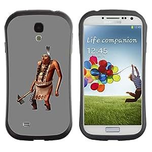 Paccase / Suave TPU GEL Caso Carcasa de Protección Funda para - Man Figurine 3D Ax Feathers - Samsung Galaxy S4 I9500