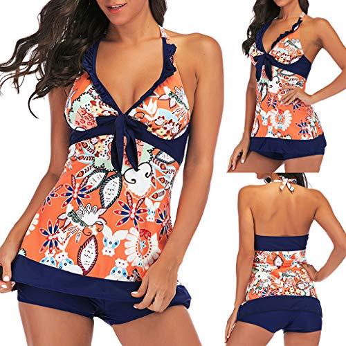 Women Print One Piece Flare Skirt Swimdress Tankini Swimsuit Swimwear Orange