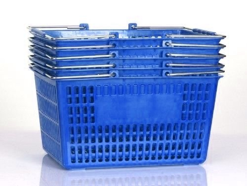 Plastic Baskets With Handles (Shopping Basket (Set of 5) Durable Blue Plastic with Metal)