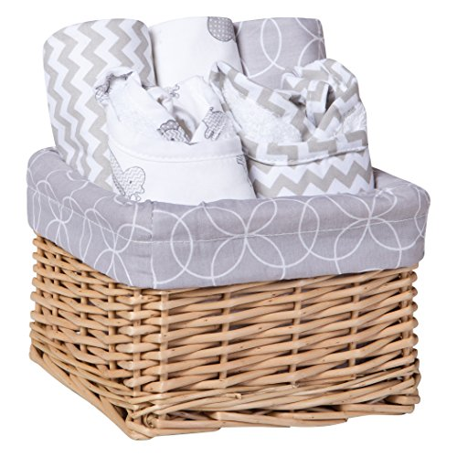 Trend Lab 7 Piece Bib & Burp Feeding Basket Gift Set, Safari Gray