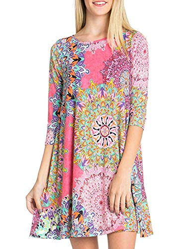 Women's 3/4 Sleeve Damask Floral Printed Tunic Dress Bohemian Swing Casual Midi Dress with Pocket Tunic Blouses for Leggings (Large, Pink)
