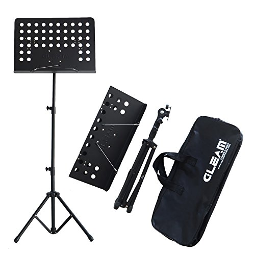 SANJOIN Adjustable Folding Sheet Music Stand with Carrying Bag, Double Surport Tripod Holder + Collapsible Tray Lightweight, Portable and Suitable for Violin, Guitar, Flute and Instrument Performance