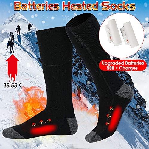 GARDOM Chaussettes Chauffantes Hommes Femmes 2200mAh,Chaussettes Thermiques Rechargeables USB,3 Niveaux de Chauffage Chauffe-Pied Respirant pour Cyclisme Randonn/ée Ski Camping P/êche