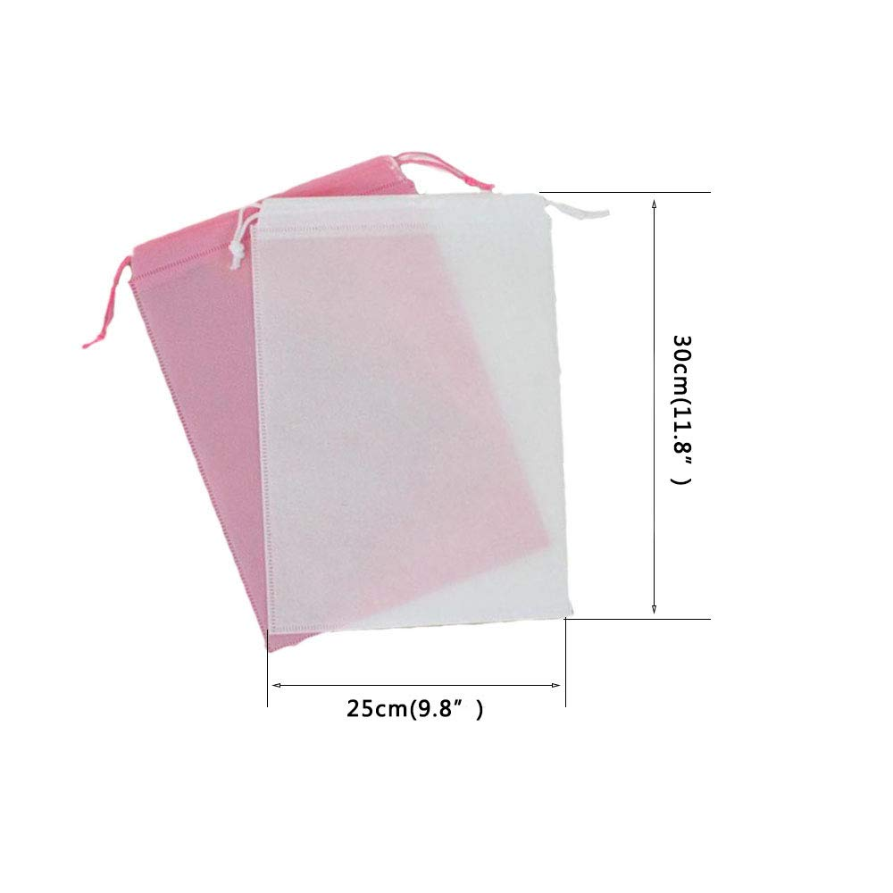 AKOAK 10 Pcs Non-Woven Drawstring Shoe Bags for Men and Women Storing Shoes at Home or Traveling,White and Pink