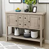 dining room buffet P PURLOVE Console Table Buffet Sideboard Sofa Table with Four Storage Drawers Two Cabinets and Bottom Shelf (Grey)