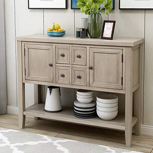 P PURLOVE Console Table Buffet Sideboard Sofa Table with Four Storage Drawers Two Cabinets and Bottom Shelf (Grey)