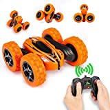 Distianert 4WD Stunt Car High Speed Off Road 2.4G Remote Control Truck LED Headlights Electric Race Double Sided Car Tank Vehicle 360° Spins