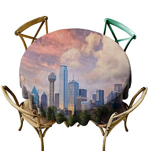 Water Resistant Table Cloth United States Dallas City Skyline at Sunset Clouds Texas Highrise Skyscrapers Landmark Multicolor Table Cover for Kitchen Dinning Tabletop Decoratio 40 INCH ()
