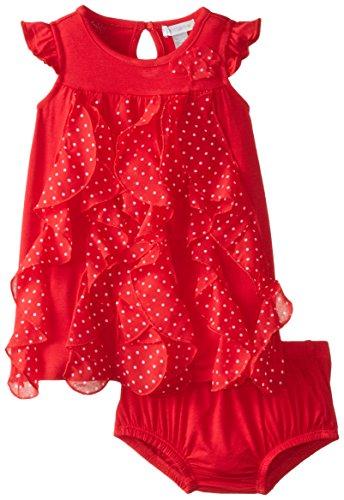 (Petit Lem Baby Girls' Retro Girl Sleeveless Dress with Pantie, Red, 18 Months )