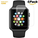 6 Pack Apple Watch Screen Protector 42MM, Yemoo iWatch HD Temper Screen Protector Anti-bubble Scratch-resistant Guard Cover 3D Hydrogel Protective Soft Film Apple Watch Series 3 2 1 38mm
