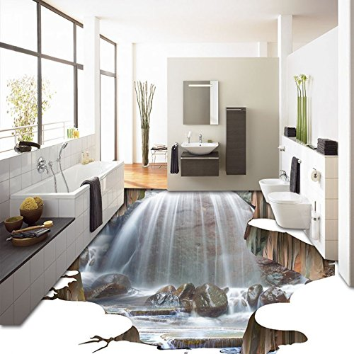 LHDLily Spectacular Outdoor Waterfalls Flooring Wallpaper Square Street Decorative Waterproof 3D Floor Mural ()