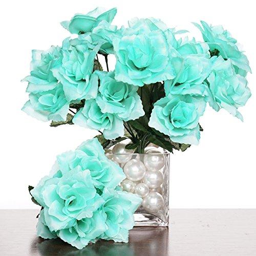 (Tableclothsfactory 84 Artificial Open Roses Wedding Flowers Bouquets - Aqua)