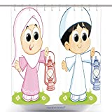 vanfan-Polyester Shower Curtains A Muslim Boy And Girl Carrying Ramadan Lanterns Polyester Bathroom Shower Curtain Set With Hooks(72 x 108 inches)